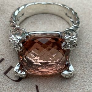 DY cushion on point Morganite ring w/diamonds